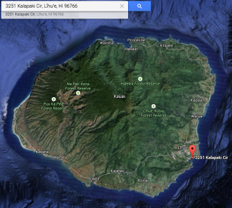 Map of Kauai, Hawaii